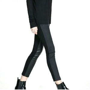 Zara W&B Collection Textured Black leggings